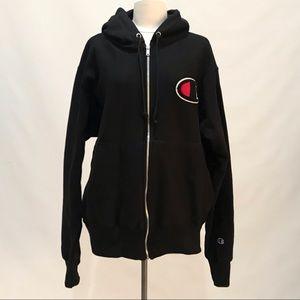 NEW Champion Reverse Weave Black Full-Zip Hoodie